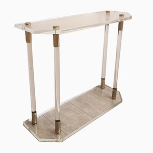 Trapezoidal Lucite & Brass Console Table, Italy, 1970s