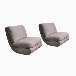 Mid-Century Curved Armchairs in Gray Velvet, Italy, 1970s, Set of 2