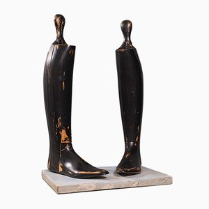 Edwardian English Decorative Boot Tree or Shoe Last Set in Beech