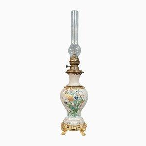 Grande Lampe à Huile Style Napoléon III en Faïence Style Craquelé, Japon