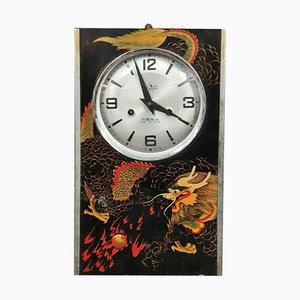 Chinese Carillon Clock with Dragon Design on a Black Background