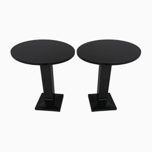 Italian Art Deco Black Lacquered Side Tables, Set of 2
