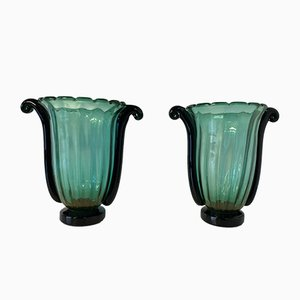 Large Green, Black and Gold Leaf Murano Glass Vases by Cenedese, Set of 2
