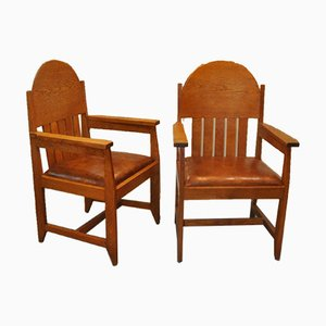 Armchairs in Sheep's Leather by Hendrik Wouda for H. Pander & Zn, The Netherlands, 1930s, Set of 2