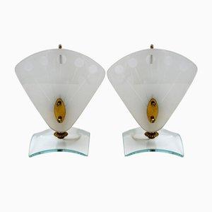 Italienische Mid-Century Modern Nachttischlampen aus Murano Glas, 1950er, 2er Set