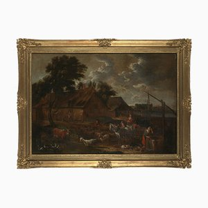 17th Century Baroque Genre Painting, Follower of David Teniers the Younger (Antwerp, 1610 - Brussels, 1690), Depicting Farmyard with Well, People and Livestock, Framed Oil on Canvas