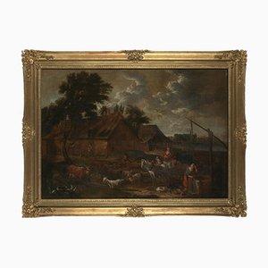 Barockes Genre, 17. Jh., Nachfolge von David Teniers the Younger (Antwerp, 1610 - Brussels, 1690), Ackerbau mit Well, People and Livestock, Gerahmte Öl auf Leinwand