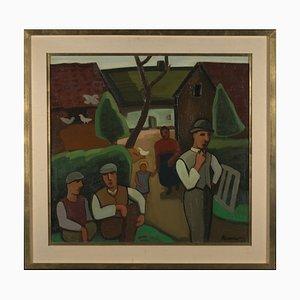 Louis François Decoeur (Namur, 1884-1960), Bauernfamilie an einem Sonntagmorgen, frühes 20. Jh., Öl auf Leinwand, Brabanter Fauvismus Eingerahmt