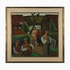 Louis François Decoeur (Namur, 1884-1960), Farming Family on a Sunday Morning, Early 20th Century, Framed Oil on Canvas, Brabant Fauvism