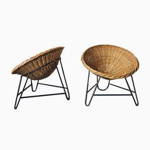 Mid-Century Bamboo & Iron Pod Chairs, Set of 2