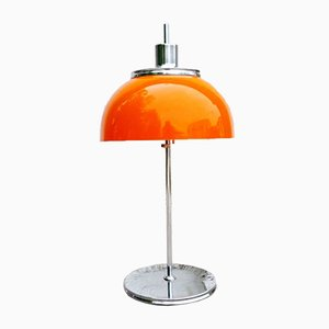 Italienische Vintage Orange Faro Tischlampe von Luigi Massoni für Guzzini, 1970er