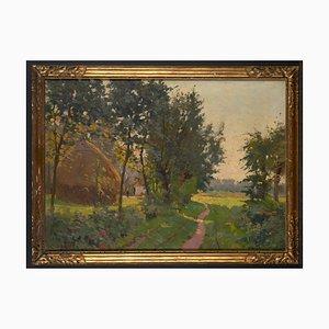 Constant Leemans (1871-1945), Luministe Landscape with Haystack, Framed Oil on Canvas