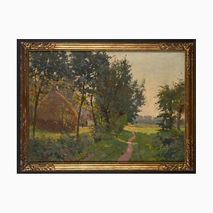 Constant Leemans (1871-1945), paisaje Luminist con pajar, cuadro de óleo sobre lienzo