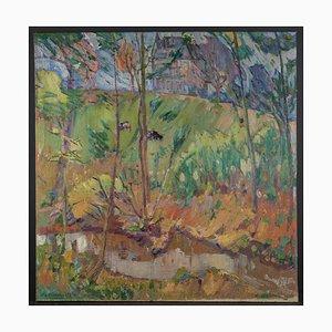 Robert Houpels (Courtrai 1877-Velle 1943), Fauvistische Landschaft mit Bäumen, 20. Jahrhundert, Gerahmt Öl auf Leinwand