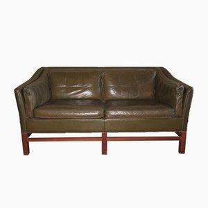Danish Teak & Olive Green Leather Sofa from Grant, 1960s