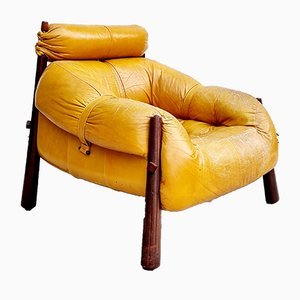 Mid-Century MP-81 Easy Chair in Jacaranda & Leather by Percival Lafer, Brazil, 1970s