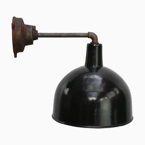Applique Murale Industrielle Vintage en Émail Noir et Fonte