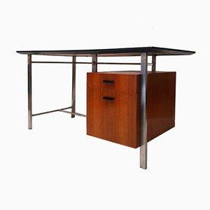 Modernist Teak and Metal Chrome Desk, 1960s