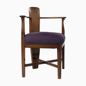 Chaise d'Angle École d'Amsterdam en Acajou par Jac Van Den Bosch, Pays-Bas, 1910s