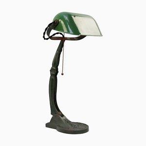 Lámpara de mesa o de escritorio industrial vintage en verde esmaltado en verde
