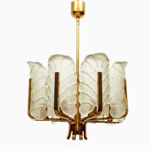 Swedish 8-Armed Brass & Glass Leaf Chandelier by Carl Fagerlund for Orrefors, 1960s
