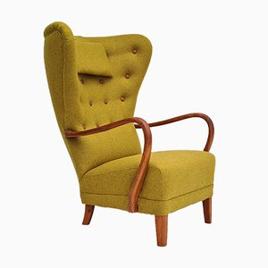 Restored Danish High-Backed Armchair in Wool, 1960s