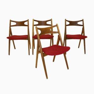 Sawbuck Ch29 Teak Stühle von Hans J. Wegner für Carl Hansen & Son, 1960, 4er Set