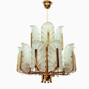 Schwedischer Kronleuchter mit 15 Leuchten aus Messing & Glas in Blatt-Optik von Carl Fagerlund für Orrefors, 1960er