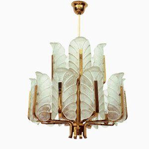 Swedish 15-Armed Brass & Glass Leaf Chandelier by Carl Fagerlund for Orrefors, 1960s