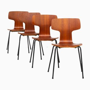 Hammer Chairs by Arne Jacobsen for Fritz Hansen, Set of 4
