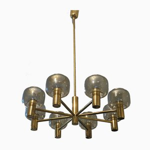 Large Mid-Century 8-Arm Brass and Glass Chandelier by Hans-Agne Jakobsson