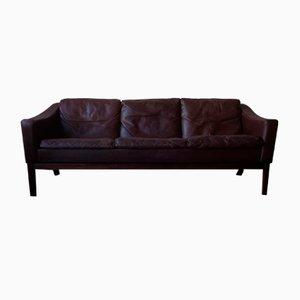 Dänisches Sofa aus Leder & Palisander mit Daunenkissen von Poul M. Jessen für Viby J, 1960er