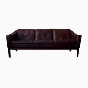 Danish Leather & Rosewood Sofa with Down-Filled Cushions by Poul M. Jessen for Viby J, 1960s