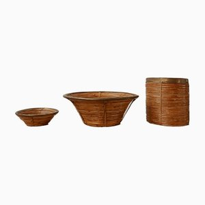 Mid-Century Wicker and Brass Bowls or Bins, Set of 3