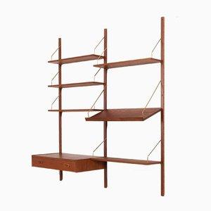 Danish Teak Wall Unit with Desk & Tilted Magazine Shelf in the Style of Cadovius & Sorensen