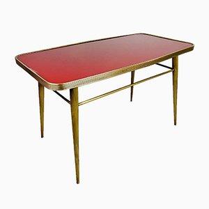 Table Basse Vintage Rouge et Dorée en Laiton et Verre, Italie, 1950s