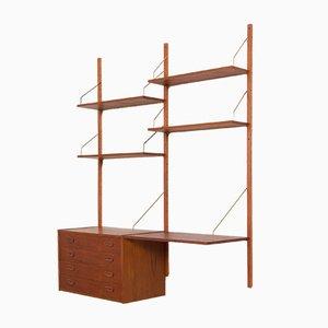Estantería modular danesa de teca con escritorio y cajonera al estilo de Poul Cadovius