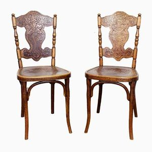 Antique Chairs with Decor by Jacob & Josef Kohn, Set of 2