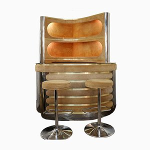 Dry Bar with Illuminated Storage & 2 Stools by Willy Rizzo, 1970s