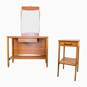 Consolle e specchio vintage in legno, set di 3