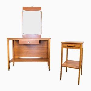 Tables et Miroir Vintage en Bois, Set de 3
