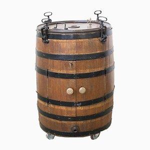 Mueble bar Barrel de hierro forjado y roble, años 19