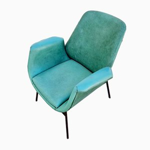 Mid-Century Modern Armchair in Green Faux Leather in the Style of Alvin Lustig, Italy, 1960s