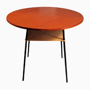 Modernist Teak Side Table with Rattan Shelf, 1950s