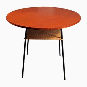Table d'Appoint Moderniste en Teck avec Étagère en Rotin, 1950s