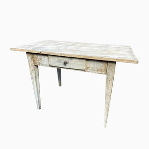 French Painted Fir Farmhouse Table, 1900s
