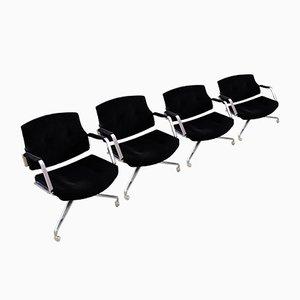 Schwarze Vintage Samt Fk84 Bürostühle von Preben Fabricius & Jørgen Kastholm für Kill International, 4er Set