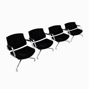 Vintage Black Velvet Fk84 Office Chairs by Preben Fabricius & Jørgen Kastholm for Kill International, Set of 4