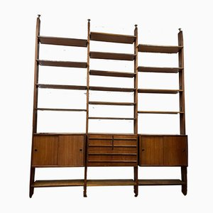Italian Bookcase in Wood and Painted Metal, 1950s