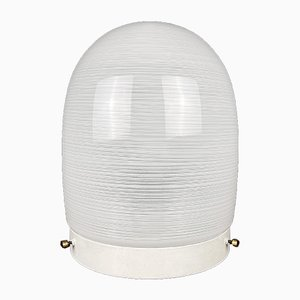 Mid-Century White Glass Ceiling Lamp, Italy, 1970s